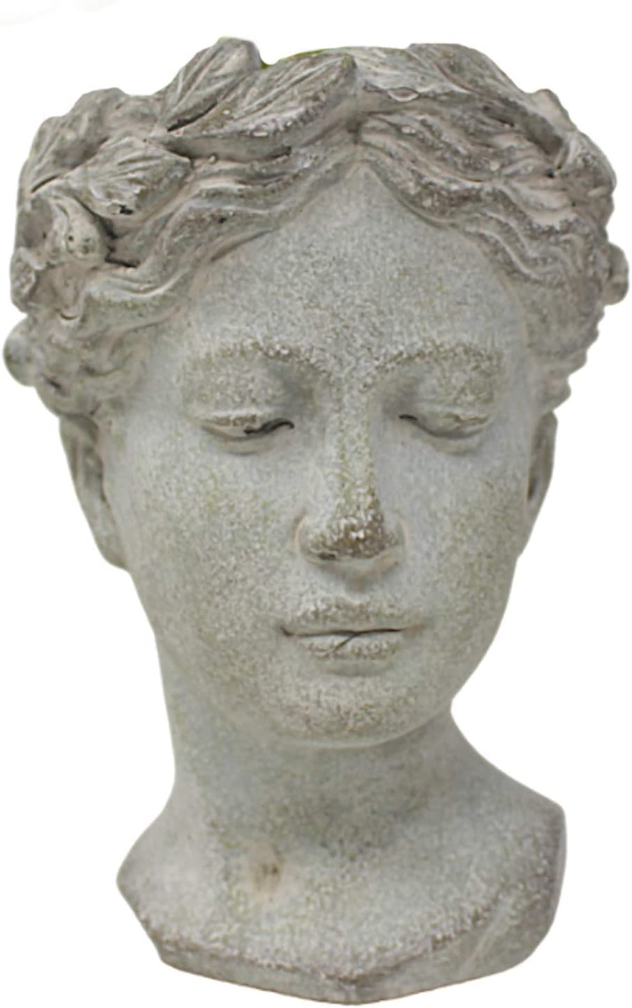 Concrete Grecian Goddess Head Succelent Planter with Distressed Finish Classical Garden Decor , 8 1/2 Inch