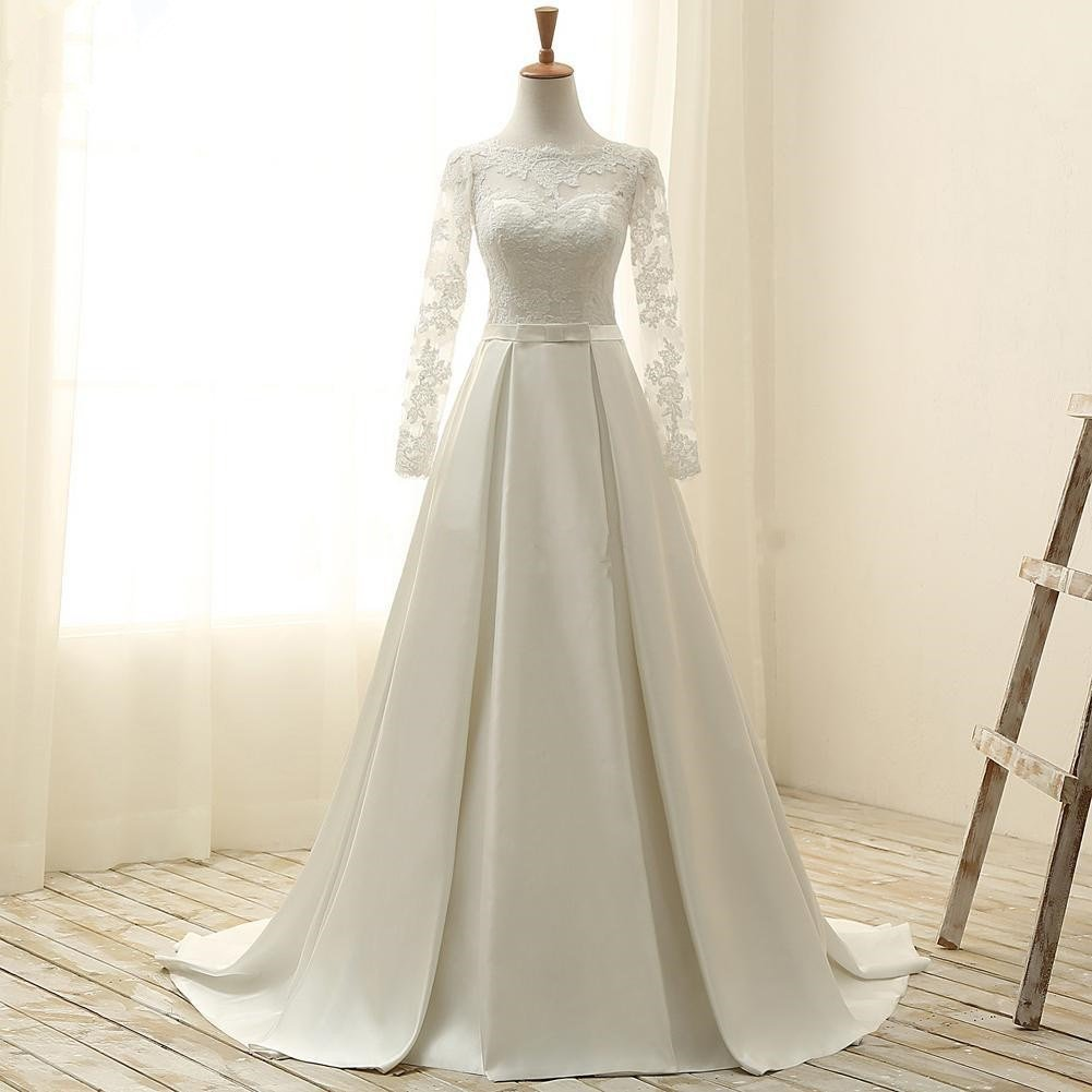 Amazon.com: Vintage Satin and Lace Wedding Dresses Bridal Gowns with Long  Sleeves: Handmade