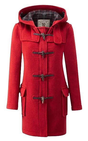 Womens Classic Duffle coats -- Racing Red: Amazon.co.uk: Clothing