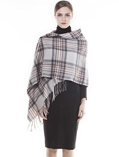 319ad9a48ea38 KAISIN Plaid Blanket Scarf Women Large Thick Winter Scarves Warm Wrap  Checked Shawl (Gray)