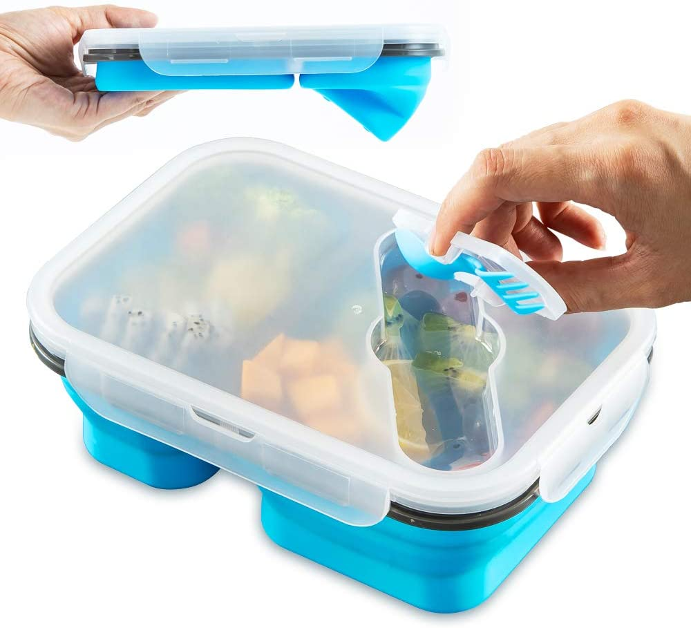 MAXCOOK Collapsible Stacking Silicone Lunch Boxes with Spoon & Fork, 3-Compartment Portable Bento Storage Containers for Food, Microwave, Freezer, Dishwasher Safe, BPA Free, Blue(Blue, 3-Compartment)