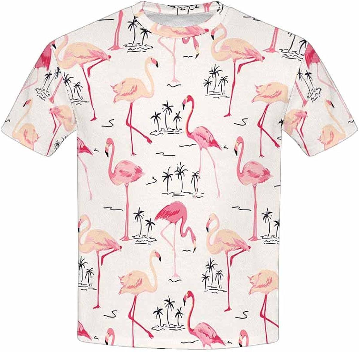 INTERESTPRINT Kids T-Shirts Flamingo Bird Background XS-XL