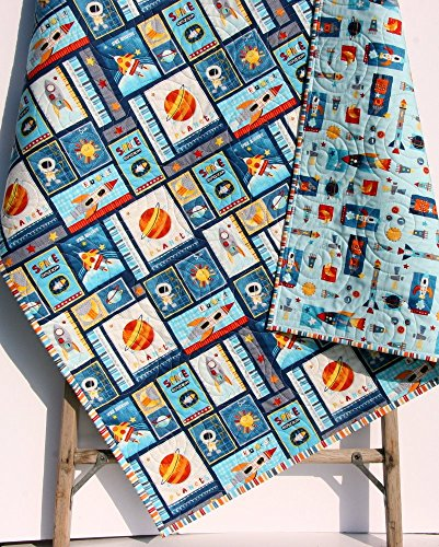 Space Adventure Quilt Boy Nursery Outer Space Spaceship Rocket Planets Moon Crib Bedding Nursery Decor by Sunnyside Designs