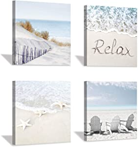 "Coastal Artwork Beach Wall Art: Starfish & Chairs on Sand Painting with Word Picture on Canvas for Living Room (12"" x 12'' x 4 Panels)"