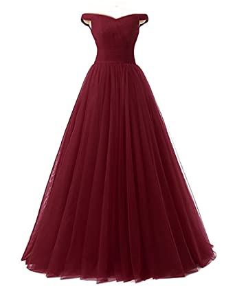 Lisianthus002 Womens Long Formal Tulle A-Line Prom Dresses Ball Gown 20 Burgundy