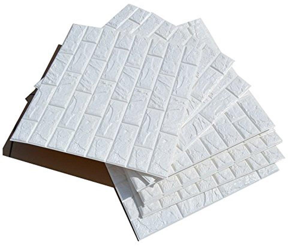 3D bianchi adesivi di muro di mattoni di imitazione, DIY carta da parati decorativa autoadesiva impermeabile 60x60cm (20 PCS) Ancoz