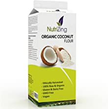 NutriZing's Organic Coconut Flour in 1kg Pouch With Premium Resealable Packaging. Contains zero additives and is 100% Raw & Natural. Certified by Soil Association. Suitable for Vegans as a great alternative to wheat and soy flours.