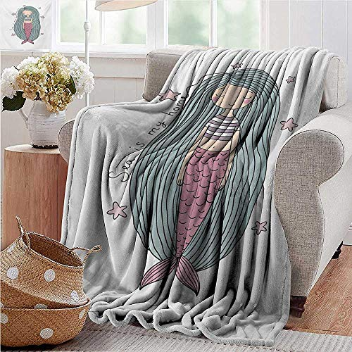 PearlRolan Summer Blanket,Mermaid,is My Home Quote Written in