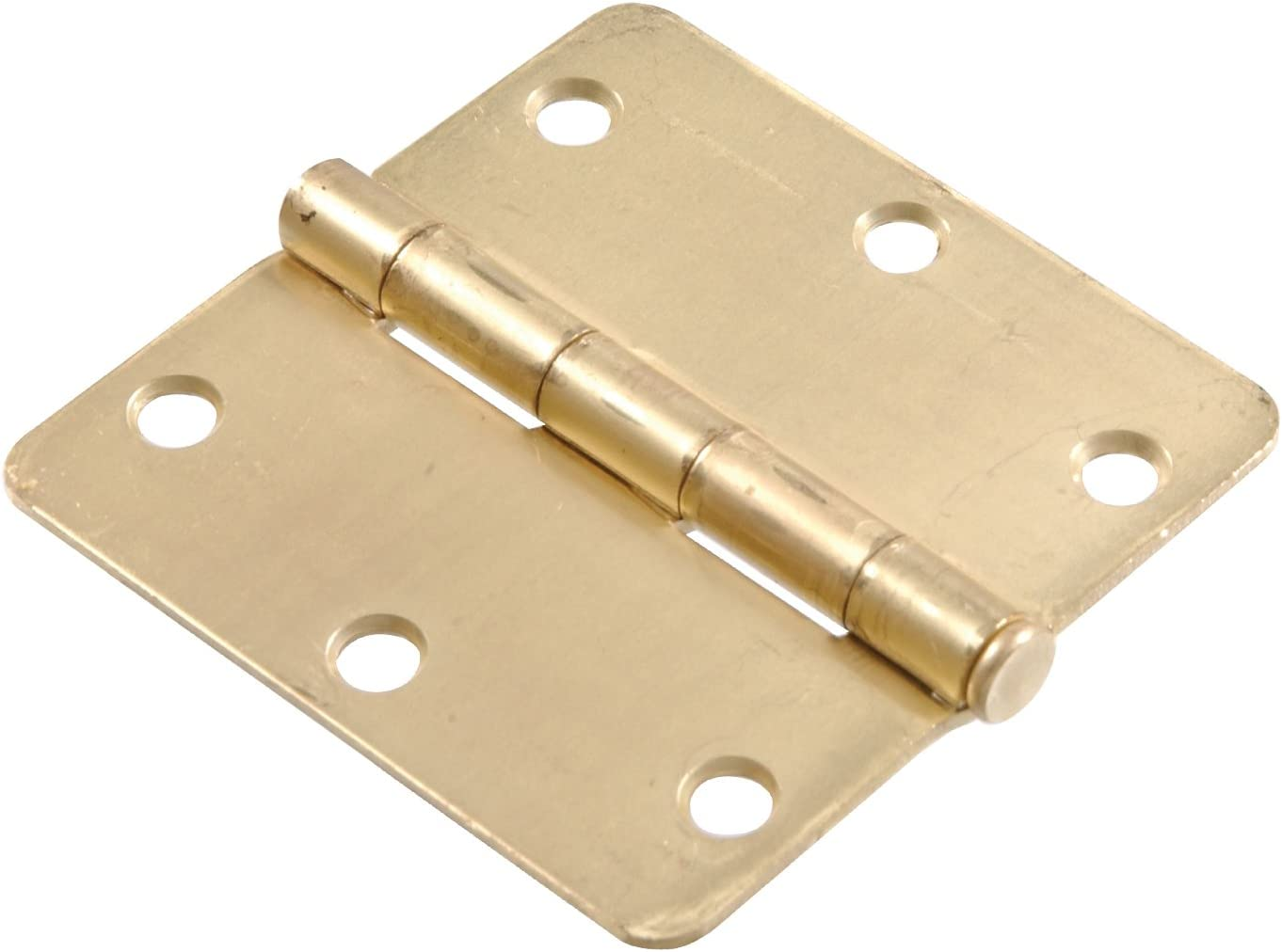 The Hillman Group 852612 3-1//2-Inch Residential Door Hinge with 1//4-Inch Round Corner Removable Pin Full Mortise Satin Brass