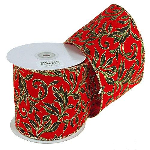 Homeford FR0092740W98510F Poinsettias Glitter Canvas Ribbon Wired Edge, 4