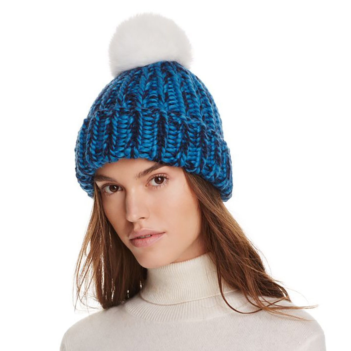 Eugenia Kim Women's Rain Wool-Alpaca Beanie with White Genuine Fox Fur Pom Pom; Blue by Eugenia Kim