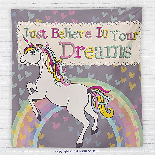 "Price comparison product image 59 x 59 Inches Teen Girls Decor Fleece Throw Blanket Unicorn With &quotBelieve In Your Dreams"" Inspiring Quotes Illustration Blanket"