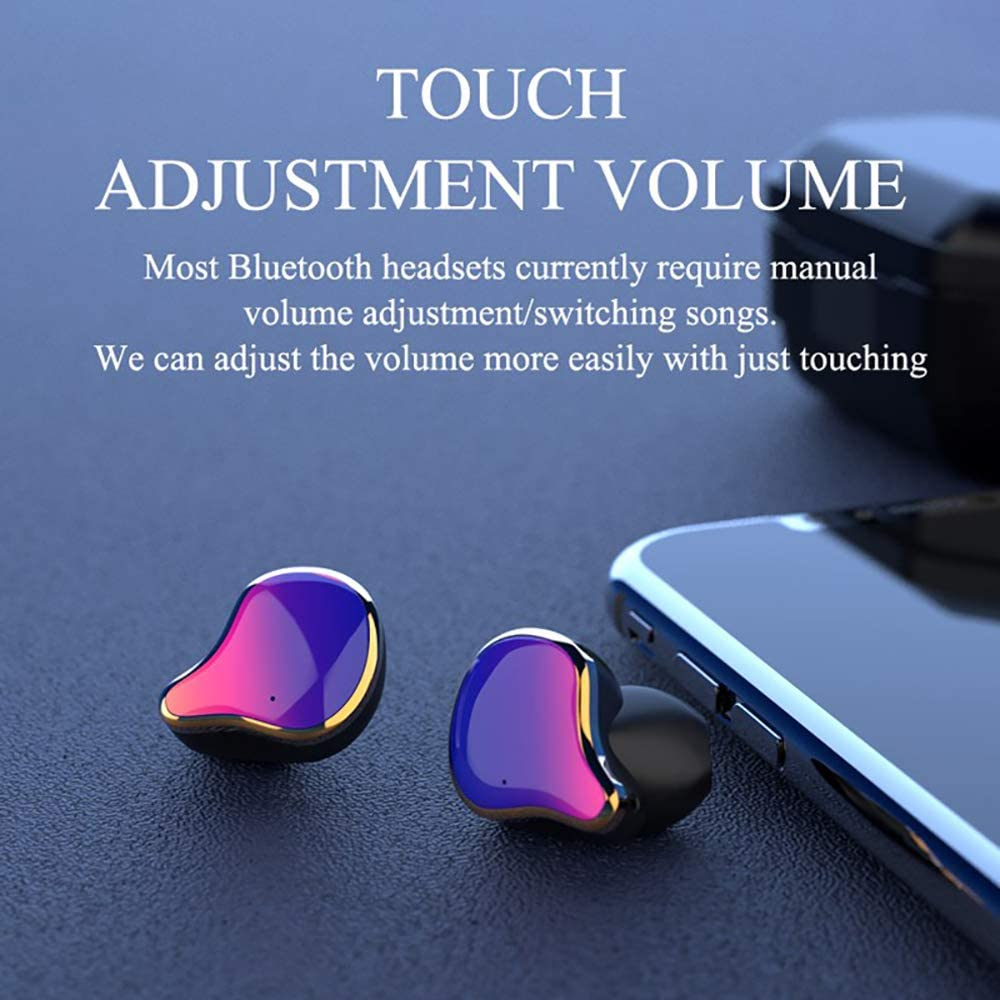 Hwenli Bluetooth 5.0 Oortelefoon, Digitale display Stereofonisch Touch True Draadloze Oordopjes Stereo Zware Bass Hoofdtelefoon Waterdichte Sport Headset Rood