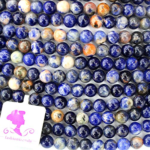 Sodalite 6mm Round Beads (Fashiontrenda Natural Color Orange Blue Sodalite Round Gemstones Beads for DIY Jewelry Making)