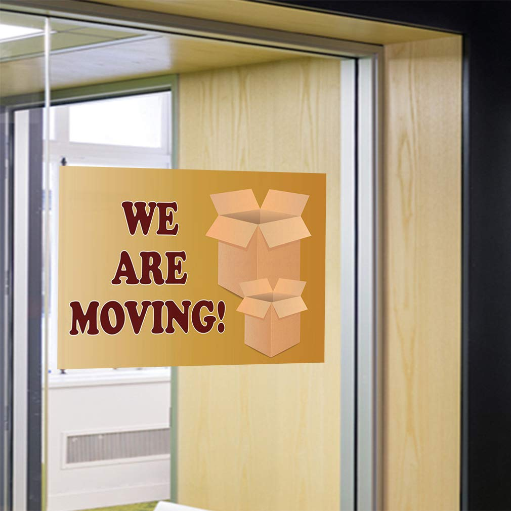 Set of 5 52inx34in Decal Sticker Multiple Sizes We are Moving Business Moving Sign Outdoor Store Sign Yellow