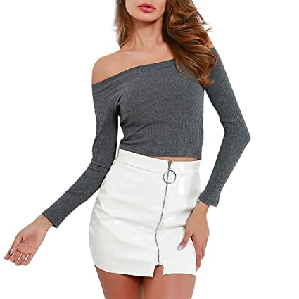 82fe2cd260de1 Image Unavailable. Image not available for. Color  KFSO Womens Off Shoulder  Slim Long Sleeve Tops Striped Crop Blouse Short Solid T-Shirt