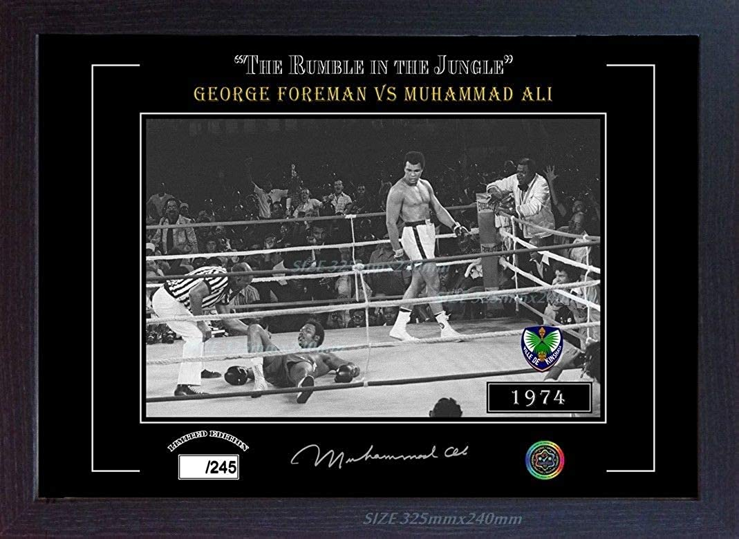S&E DESING George Foreman Muhammad Ali Signed Autograph Framed (MDF)