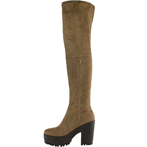 df042d92994 WOMENS LADIES SEXY OVER THE KNEE THIGH HIGH CHUNKY PLATFORM HEEL STRETCH  BOOTS