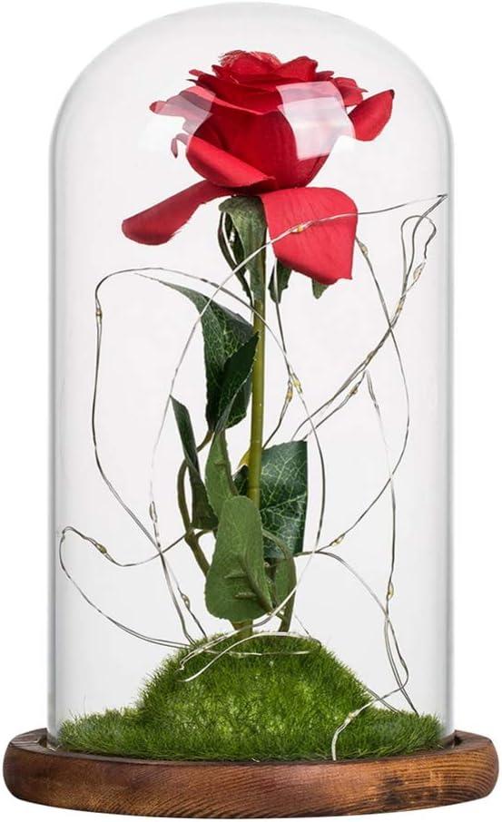 Muttertag Lucoss Rose Blumen Ewige Rose Geschenk mit LED-Lichterkette in Glaskuppel auf Holzsockel,Geschenkideen f/ür Valentinstag Jubil/äum Geburtstag Hochzeit