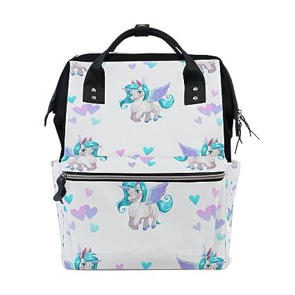 TIZORAX Cartoon Pegasus Diaper Mochila de gran capacidad bolsa de bebé multifunción pañales bolsas de viaje