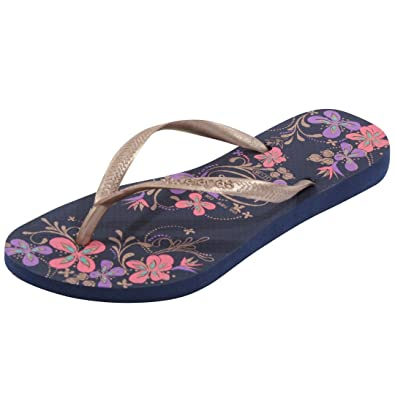 1c70551997fd Havaianas Slim Season Navy Blue Gold Flip Flops - UK 3 4 - BR 35 36   Amazon.co.uk  Shoes   Bags