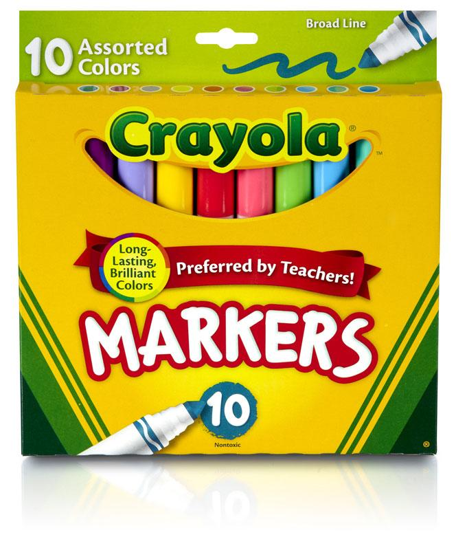 Amazon.com: Crayola Broad Line Markers-Assorted Colors 10/Pkg: Arts