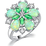 CiNily Green Fire Opal Emerald Rhodium Plated Zircon Women Jewelry Gemstone Ring Size 6-10