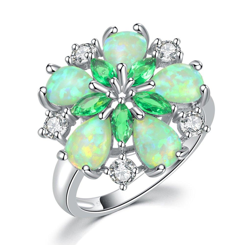 CiNily Created Green Fire Opal Emerald Rhodium Plated Zircon Women Jewelry Gemstone Ring Size 6-10 (10)