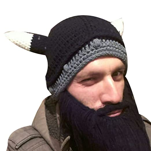 6ea58b9c91a Image Unavailable. Image not available for. Color  Brown Creative Funny Men  Knit Big Beard Mustache Hat ...