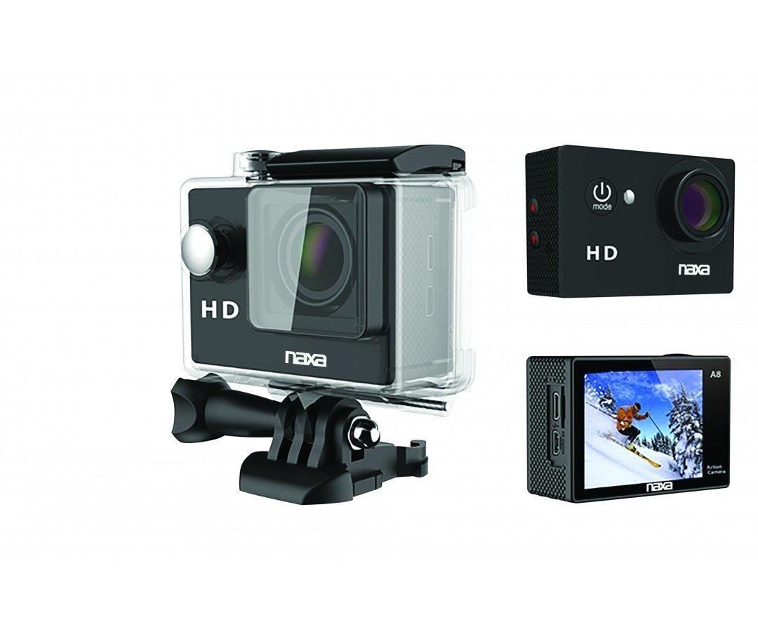 NAXA Electronics NDC-405 Waterproof HD Action Camera, Shiny Black (NDC-405)