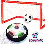 Toyk Kids Toys - LED Hover Soccer Ball Set 2 Goals Mini Screwdriver - Air Power Training Ball Playing Football Game - Soccer