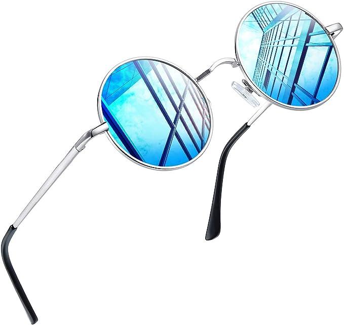 Joopin Redondas Gafas de sol Polarizadas Retro Vintage John Lennon Círculo Metálico Hippie Steampunk para Hombres y Mujeres UV400 (Azul glaciar): Amazon.es: Ropa y accesorios