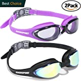 Swim Goggles, Pack of 2 Swimming Goggles, Anti Fog UV Protection, With Streamline Design, Soft Nose Piece, 180 Degree Vision, Triathlon Goggles for Adult Men Women Youth Teens, Indoor and Outdoor