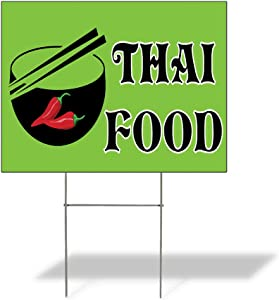 Weatherproof Yard Sign Thai Food Outdoor Advertising Printing Yellow Lawn Garden International Cuisines 24x18 Inches 1 Side Print