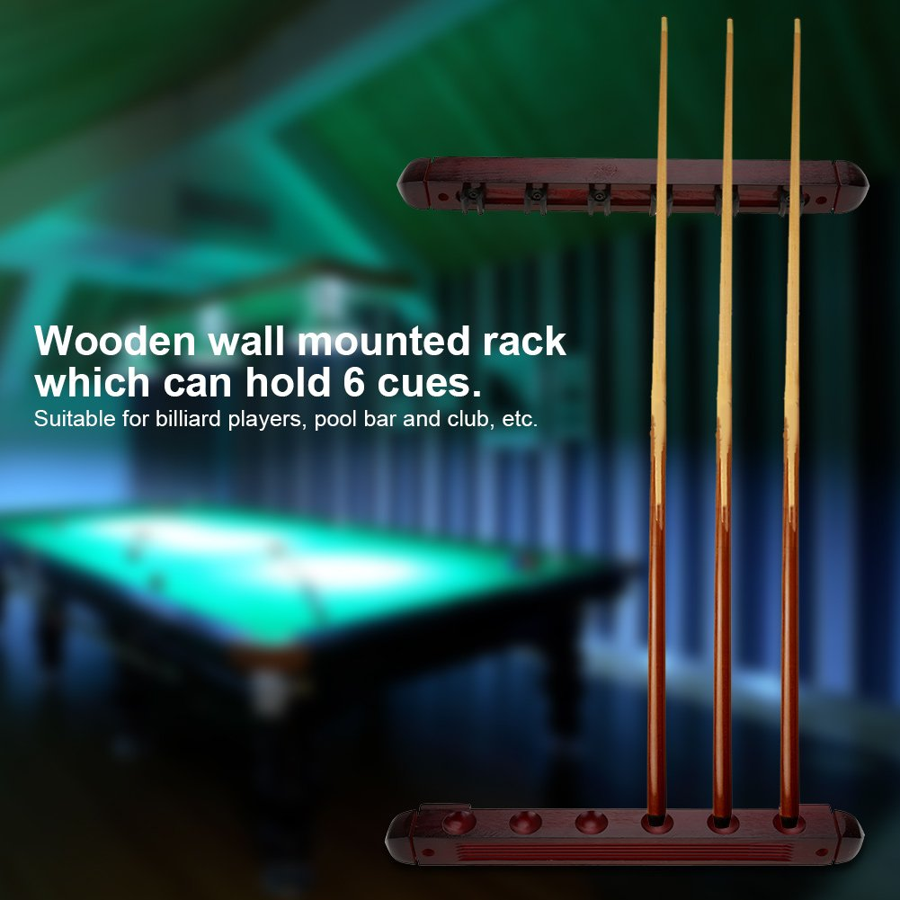 Soporte para Tacos de Billar,Billar Holder Estante de Pared para 6 Tacos Cue Pool Rack Billar Stick Holder Soporte de Estante de Cue de Billar Snooker Piscina Madera Estante de Pared de Billar