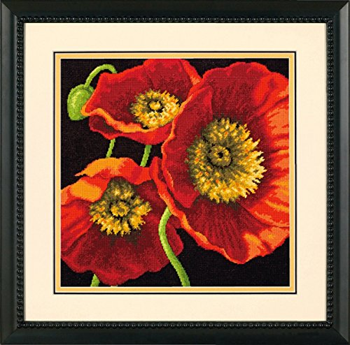 Red Poppy Trio Needlepoint Kit-14x14 Stitched In Wool & Thread - Life Wool Needlepoint Kit