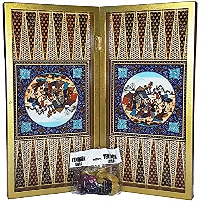 "20"" Yenigun Large Persian Khatam Backgammon Turkish Tavla Professional Full Set Persian Khatam Design"