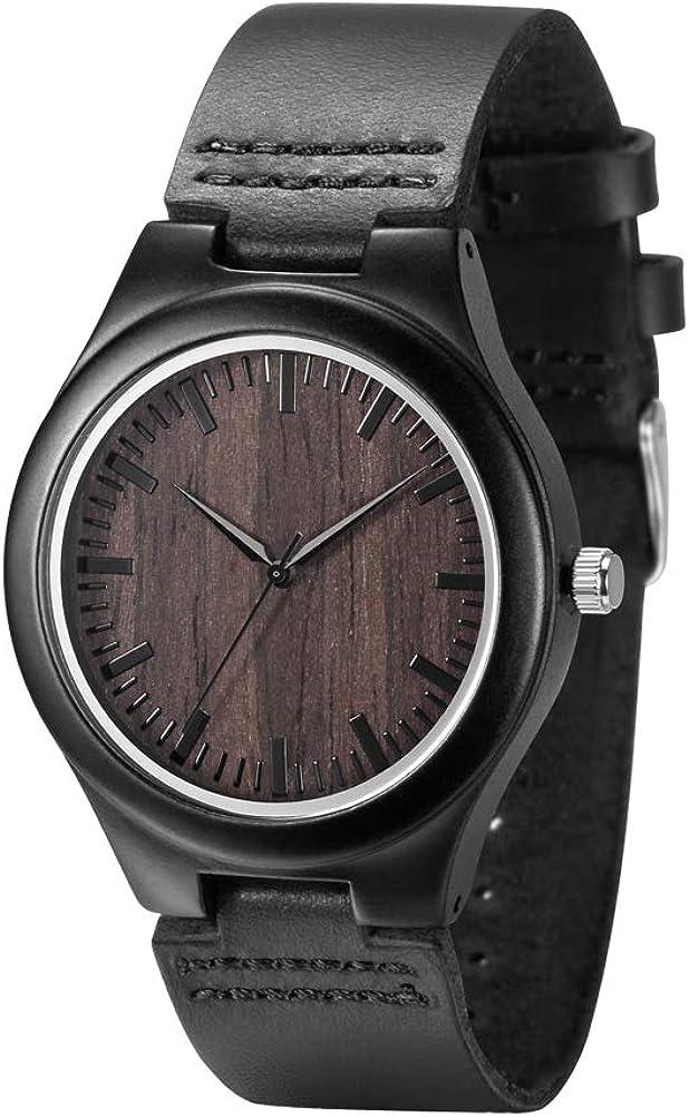 Handmade Wooden Watches for Men, Genuine Leather Strap Japan Quartz Movement Wood Wrist Watch