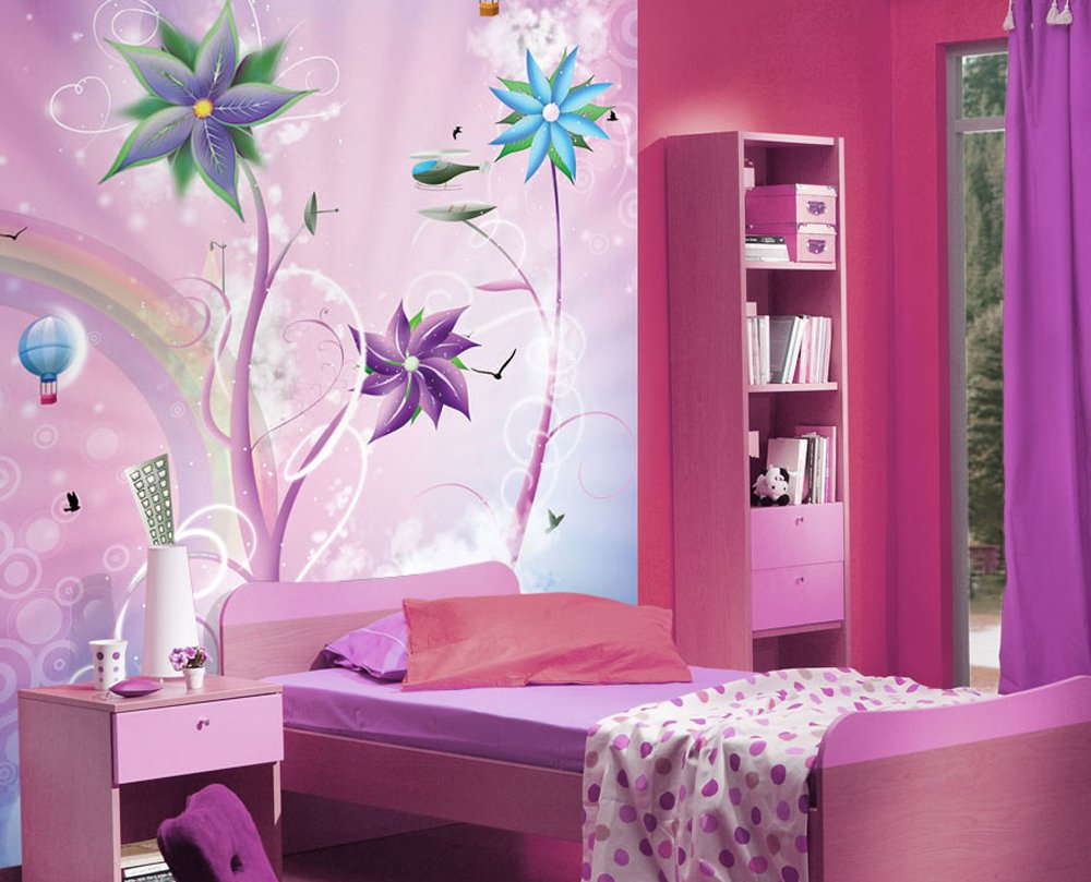 JP London MD3A050 8.5-Feet High by 6-Feet Wide Removable Portrait Fantasy Flowers and Balloons Wall Mural