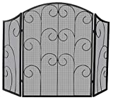 Uniflame, S-1015, 3 Panel Black Wrought Iron Screen with Decorative Scroll
