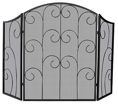Uniflame, S-1015, 3 Panel Black Wrought Iron Screen with Decorative Scroll - Decorative Scroll Fireplace Screen