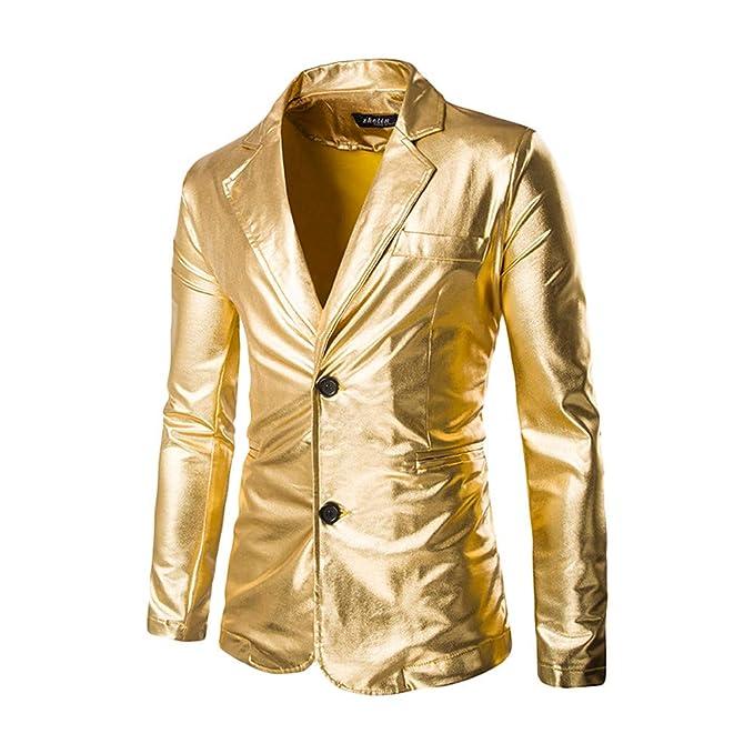 Tefamore Trajes Hombre Chaqueta Casual Dorado Brillante para Hombre Chaqueta de Traje Ajustado/Club Nocturno Blazer Disfraz de Baile Disco