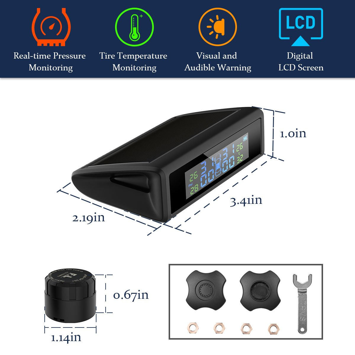 HiGoing Tire Pressure Monitoring System, Solar Wireless TPMS Built-in 450mAh Battery, 4 External Sensors (0-8.0 Bar/0-116 Psi, 49-85℉/65-85℃), 6 Alarms Real-time High Monitor Temperature & Pressure by HiGoing (Image #4)