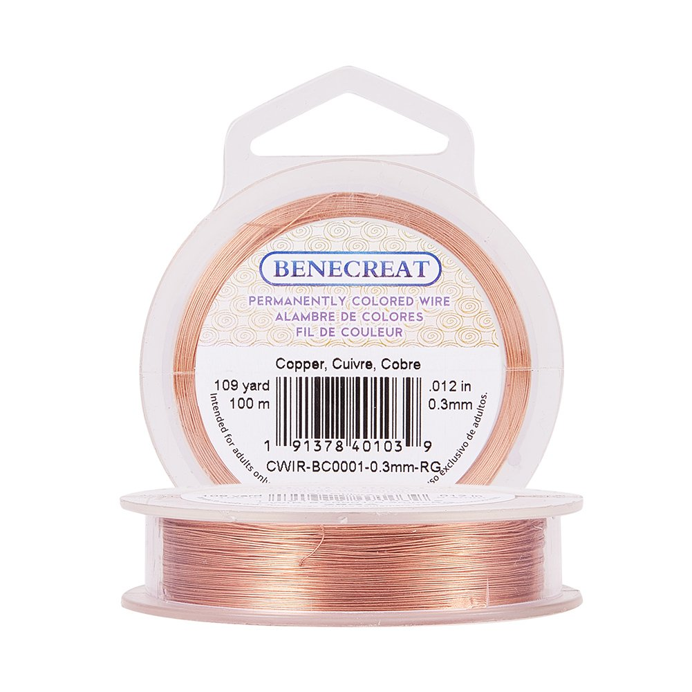 BENECREAT 24GA 30Meter /33Yard Copper Wire Permanently Colored Wire, Silver Color CWIR-BC0001-0.5mm-S