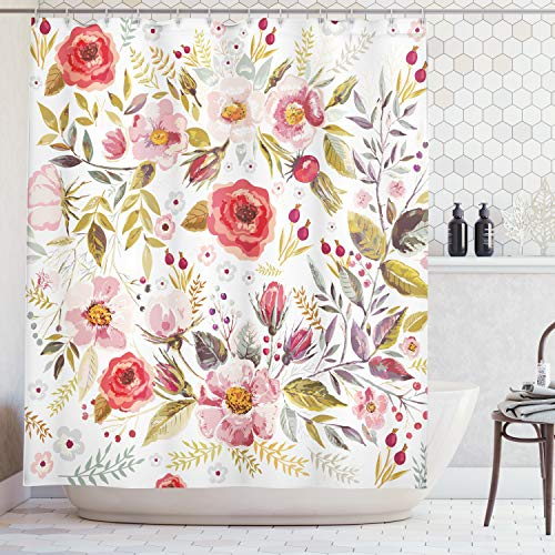 - Ambesonne Vintage Shower Curtain by, Floral Theme Hand Drawn Romantic Flowers and Leaves Illustration, Fabric Bathroom Decor Set with Hooks, 70 Inches, Light Pink Red and Cream