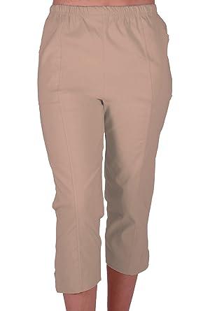 Cora Ladies Stretch Capri Crop Shorts Pedal Pushers Pants Womens 3 ...