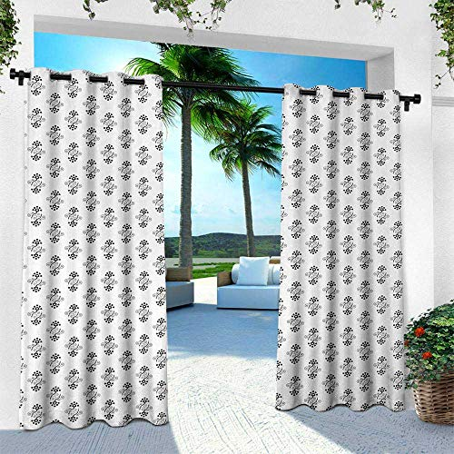 Hengshu Black and White, Outdoor- Free Standing Outdoor Privacy Curtain,Heart Shaped Petals and Leaves Valentines Day Design with Spiral Lines, W96 x L96 Inch, Black White