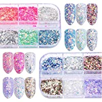12 Colors Sparkling Holographic Nail Sequins Glitter Flakes Mix Color Box 3D Nail Art Accessories Mixed Thin Shining…