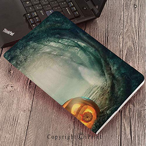 CaseforSamsungGalaxyT820 T825 Slim Folding Stand Cover PUTabS3 9.7,Halloween Decorations,Scary Halloween Pumpkin Enchanted Forest Mystic Twilight Party Art,Orange Teal ()