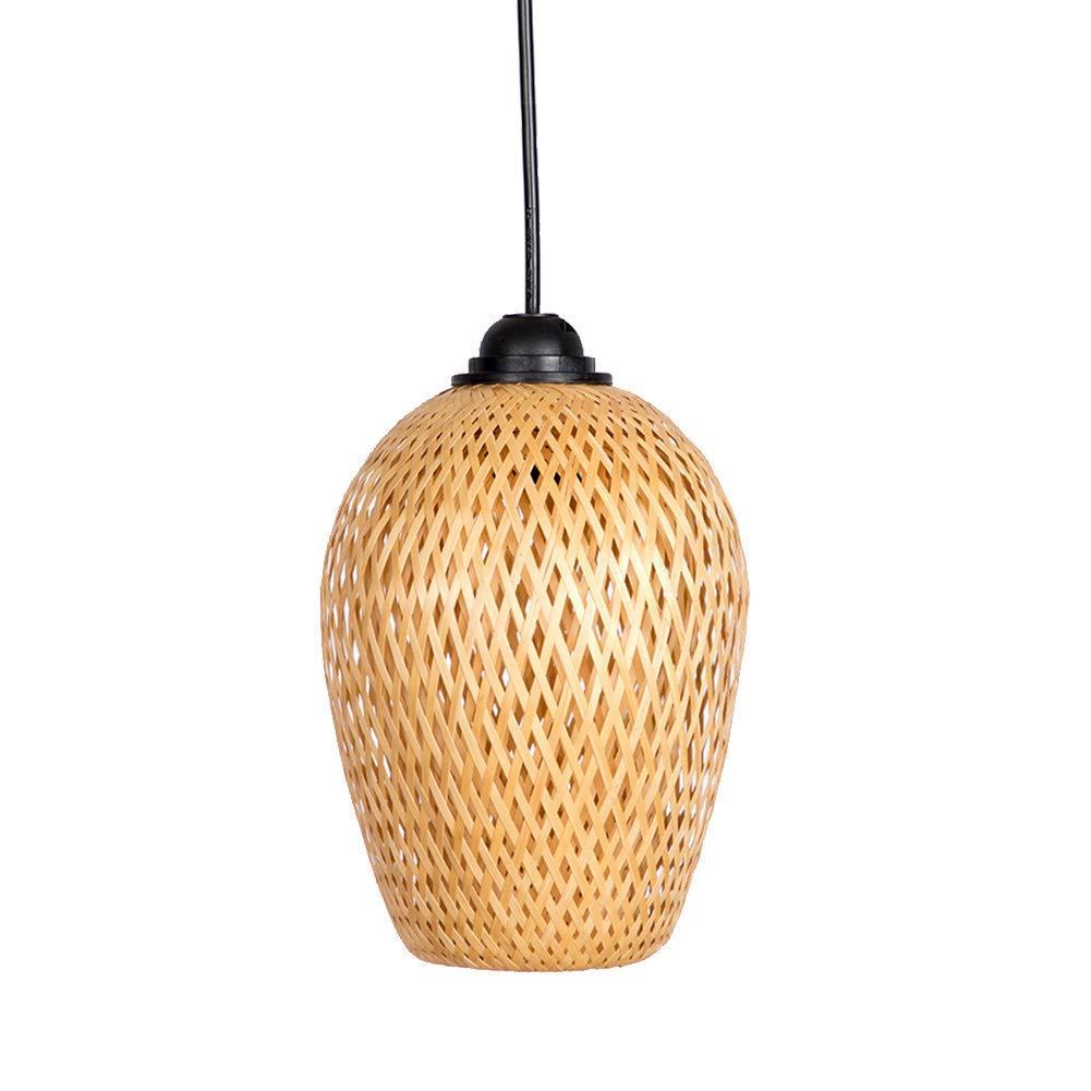 Japanese Bamboo Chandelier, E27 Hand-Woven Lantern Hand-Decorated Creative Ceiling Lamp Restaurant Kitchen 20X14cm